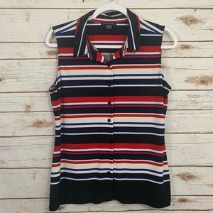 Tommy Hilfiger Striped Sleeveless Career Top